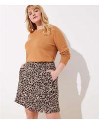 LOFT - Plus Leopard Jacquard Pocket Skirt - Lyst