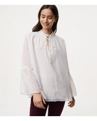 LOFT - Dotted Tie Neck Bell Sleeve Blouse - Lyst