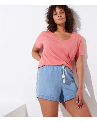 LOFT - Plus Embroidered Cotton Linen Denim Drawstring Shorts - Lyst