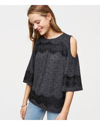 LOFT | Lacy Dotted Cold Shoulder Tee | Lyst