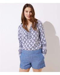 LOFT Petite Scalloped Chambray Shorts With 3 1/2 Inch Inseam - Blue