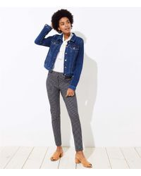 LOFT - Skinny Button Plaid Trousers In Marisa Fit - Lyst