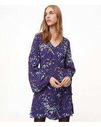 LOFT - Petite Frosted Branch Bell Sleeve Dress - Lyst