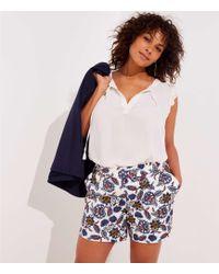 LOFT - Plus Summer Blossom Button Tab Shorts - Lyst