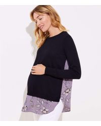 LOFT - Maternity Lilac Garden Mixed Media Sweater - Lyst