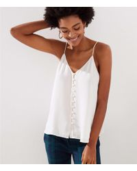 LOFT - Covered Button Down Strappy Cami - Lyst