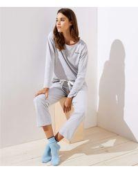 LOFT - Embroidered Striped Pyjama Set - Lyst