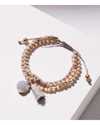 LOFT - Beaded Stone Slider Bracelet - Lyst