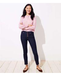 LOFT - Petite Modern Button Fly Skinny Jeans In Dark Rinse Wash - Lyst