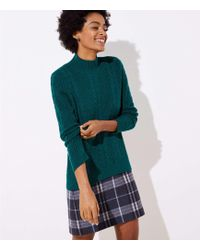 LOFT - Mock Neck Cable Sweater - Lyst