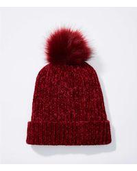 LOFT - Chenille Faux Fur Pom Pom Hat - Lyst
