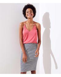 LOFT - Petite Striped Pull On Pencil Skirt - Lyst