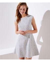 0de8b9ca33 LOFT - Petite Checked Jacquard Flare Dress - Lyst
