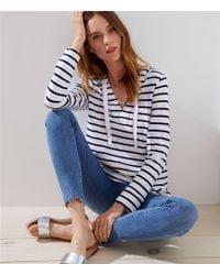LOFT - Striped Pullover Hoodie - Lyst