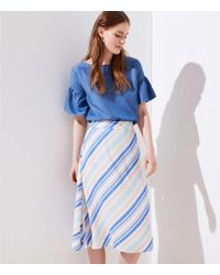 LOFT - Striped Covered Button Skirt - Lyst