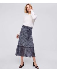 LOFT - Petite Blossomed Tie Waist Midi Skirt - Lyst