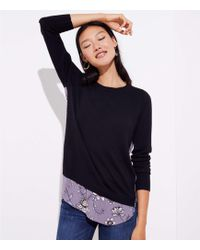 LOFT - Lilac Garden Mixed Media Sweater - Lyst