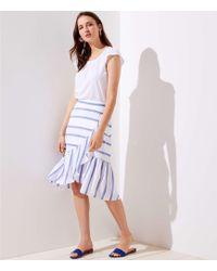 LOFT - Striped Ruffle Wrap Skirt - Lyst