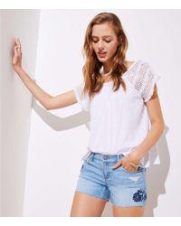 LOFT - Floral Embroidered Denim Cut Off Shorts - Lyst