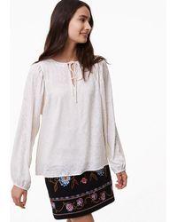 LOFT - Petite Floral Jacquard Shirred Tie Neck Blouse - Lyst
