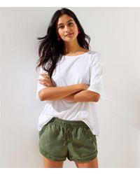 LOFT - Petite Frayed Drawstring Shorts - Lyst