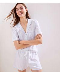 LOFT - Striped Knit Pajama Set - Lyst