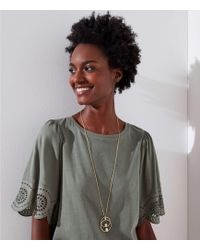 LOFT - Pearlized Linked Pendant Necklace - Lyst