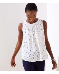 999238a354f Lyst - LOFT Dotted Crossover Back Mixed Media Shell in White