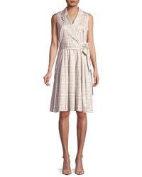 Anne Klein - Collared Dot Wrap Dress - Lyst
