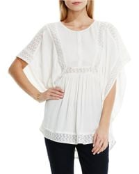 Two By Vince Camuto - Paisley Lace Insert Crinkle Gauze Poncho - Lyst
