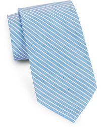 August Silk | Striped Silk And Linen Tie | Lyst