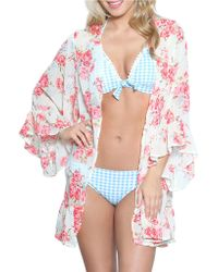 Betsey Johnson - Floral Print Wrap Cover-up - Lyst