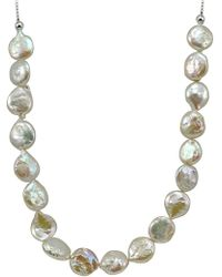 Lord & Taylor - 12mm White Round Coin Pearl Slider Necklace - Lyst