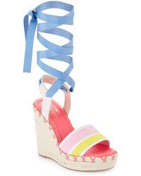 Kate Spade - Danah Leather Lace-up Platform Sandals - Lyst