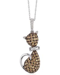Le Vian - Chocolatier 14k Vanilla Gold Cat Pendant Necklace - Lyst