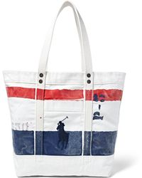 Polo Ralph Lauren | Big Pony Bar Striped Canvas Tote | Lyst