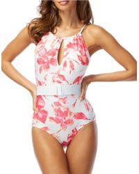 Carmen Marc Valvo - Caribbean Breeze High-neck One-piece Swimsuit - Lyst