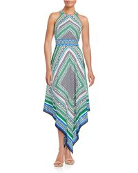 Eliza J - Patterned Handkerchief Maxi Dress - Lyst