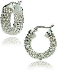 Lord & Taylor - Sterling Silver Woven Hoop Earrings - Lyst