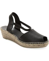 Andre Assous - Dainty Leather Espadrille Wedge Sandals - Lyst