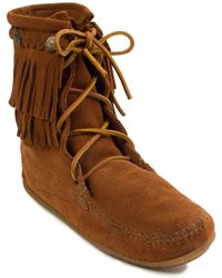 Minnetonka Double Fringe Tramper Boots - Brown