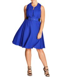 92e352823cdc Express Poplin Fit And Flare Shirt Dress - Blue in Blue - Lyst
