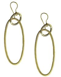Lord & Taylor - 14 Kt. Yellow Gold Textured Oblong Drop Hoops - Lyst