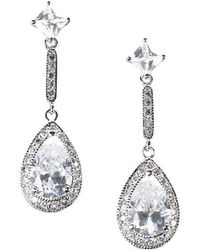 Lord & Taylor - Sterling Silver Cubic Zirconia Linear Teardrop Earrings - Lyst