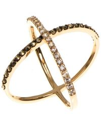 Judith Jack - Cubic Zirconia, Marcasite And 10k Goldplated Sterling Silver X Ring - Lyst
