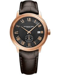 roberto cavalli eson brown crocodile leather strap chronograph raymond weil stainless steel crocodile embossed leather strap watch lyst