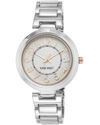 Nine West - Nw/1893svrt Silvertone Easy-to-read Link Bracelet Watch - Lyst