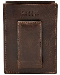 Fossil - Derrick Leather Magnetic Card Case - Lyst