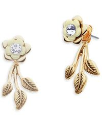 Lonna & Lilly - Crystal Accented Rose Drop Earrings - Lyst