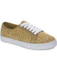 Tahari - Gene Raffia And Calf Leather Casual Trainers - Lyst